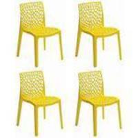 Conjunto Com 4 Cadeiras Gruvyer Italiana Amarela Inovakasa