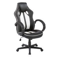 Cadeira Gamer ROYALE Preto e Branco Reclinavel com Regulagem de altura