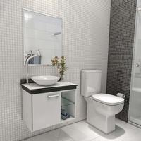 Gabinete para Banheiro VTEC Alpha com Cuba e Espelho 49x44x62cm