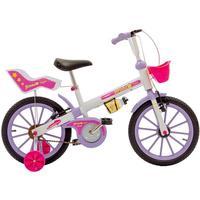 Bicicleta Fischer Ferinha Super Aro 16 Freio V-Brake Branca e Lilás