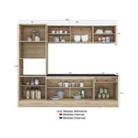 Cozinha Compacta Com Balcão Multimóveis Linea Nicho Para Forno Micro ondas 8 Portas 1 Gaveta Nude