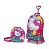Kit Mochila Escolar 3 Rodas + Lancheira 3d Hello Kitty Kids