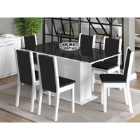 Conjunto de Mesa Com 6 Cadeiras Estofadas Madesa Moscou Plus Branco e Preto
