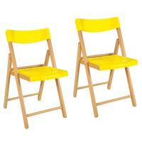 Kit 2 Cadeiras Dobráveis Tramontina Potenza Plast Amarelo Madeira