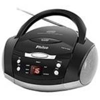 Som Portátil Philco Ph61 com CD Player Rádio FM MP3 AUX IN Cinza e Preto