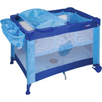 Berço Prime Baby Mochila Amici com Trocador e Porta Objetos Azul