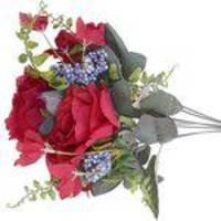 Flor artificial 10 Buques de Rosas Vermelhas