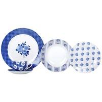 Aparelho De Jantar E Chá 20 Peças Casambiente Porcelana Redondo Azul E Branco
