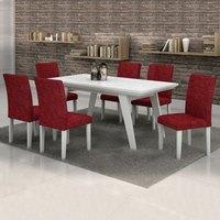 Conjunto Sala de Jantar Mesa Esmeralda Tampo Vidro Branco 6 Cadeiras Classic Cel Móveis Branco/ Veludo Envelhecido 68