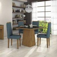 Conjunto Sala de Jantar Mesa Tampo MDF/Vidro Preto Nevada 4 Cadeiras Dafne Móveis Lopas Rovere/Rinzai Azul