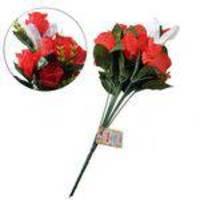 Buque Flores Artificiais Plastico Vermelho Rosa Permanente