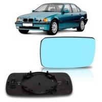 Lente Retrovisor Bmw Serie 3 1992 A 1998 Lente Azul Sem Aquecedor - Par (Direito + Esquerdo)