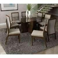 Conjunto De Mesa Liptus Luiza 1.40m Com 8 Cadeiras Estofadas Vivian Pena Bege Imbuia Tingido