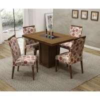 Conjunto De Mesa Liptus Isis Com 4 Cadeiras Estofadas Floral Vermelho Imbuia Tingido