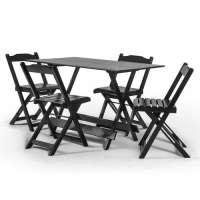 Conjunto Mesa Em Madeira Maciça Disamóveis Boston 120x70cm Com 4 Cadeiras Las Vegas Tabaco