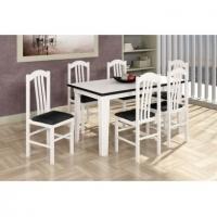 Mesa Canção 4 Cadeiras Branca e Preta