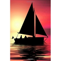 Notebook: Sailing Ship Sunset college book diary journal booklet memo composition book 110 sheets - ruled paper 6x9 inch