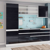 Cozinha Compacta 5 peças Glamy – Madesa - Branco / Ebano
