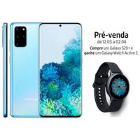 Smartphone Samsung Galaxy S20+ SM-G985F Desbloqueado Dual Chip 128GB Android 10 Cloud Blue + Relógio Galaxy Watch Active 2
