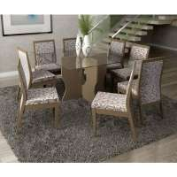 Conjunto De Mesa Liptus Luiza 1.40m Com 8 Cadeiras Estofadas Vivian San Marino Auris