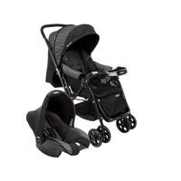 Carrinho De Bebê Com Bebê Conforto Cosco Travel System Reverse Preto Rajado