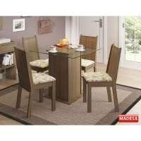 Conjunto Mesa De Jantar 5295a Lucy Madesa Com 4 Cadeiras 4290 90x90cm Rustic lirio Bege