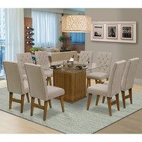 Mesa para Sala de Jantar Saint Louis com 8 Cadeiras – Dobuê Movelaria - Mell / Areia