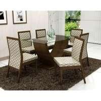Conjunto De Mesa Liptus Vivian 6 Cadeiras Estofadas Moderna Imbuia Tingido