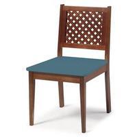 Cadeira para Sala de Jantar ou Home Office Imperial Xadrez Treliçada Azul Escura