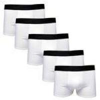 Kit Com 5 Cuecas Boxer Cotton Confort Masculina Part.b Branca