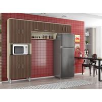Cozinha Compacta Poliman Móveis Franciele 9 Portas Marrom