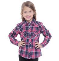 Camisa Feminina Marisa Infantil Xadrez Rosa Pink  04eae6d83816a
