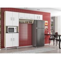 Cozinha Compacta Poliman Móveis Franciele 9 Portas Branco Laca