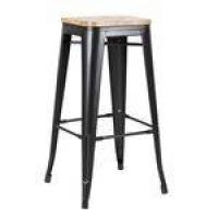 Banqueta Iron Tolix 76 cm com assento madeira clara - Preto