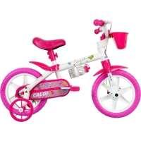 Bicicleta Caloi Cecizinha Aro 12 Rosa e Branco