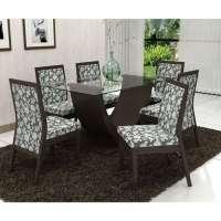Conjunto De Mesa Liptus Vivian 6 Cadeiras Estofadas Florde Prata Wengue