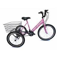 Bicicleta Triciclo Valdo Bike Aro 24 Borboleta 21 marchas Rosa