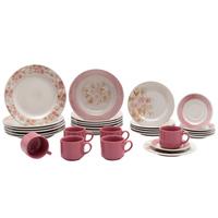 Aparelho de Jantar Chá Biona Cerâmica Donna AE30-5160 Redondo 30 Peças Rosa