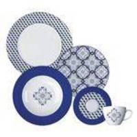 Aparelho De Jantar 20 Peças Fado Branco E Azul Germer