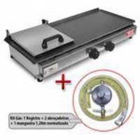 Chapa Para Lanche A Gás Sanduicheira 30x58cm Lcg + Kit Gás