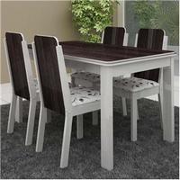 Mesa Madesa Débora 5232 com 4 Cadeiras Débora Stella 4205 Branco Madeira Demolição