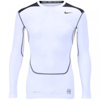 Camisa de Compressão Manga Longa Nike Core Top 2 Masculina Branco e Preto e477a149925a1