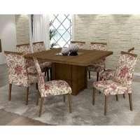 Conjunto De Mesa Liptus Isis 1 40m Com 8 Cadeiras Estofadas Betina Magnolia Imbuia Tingido
