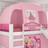 Cabana Superior Para Camas Infantis Play Rosa Com Cortina Branca Pura Magia