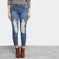 Calça Jeans Skinny Mob Estonada Rasgada Cintura Média Feminina - Feminino