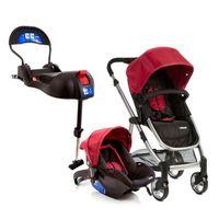 Travel System Epic Light Cherry e Base para Bebê Conforto Infanti Terni com IsoFix