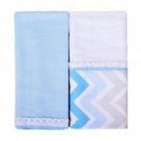 manta cueiro flanelados 2 peças chevron masculino azul baby joy