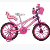 Bicicleta Flowers Cadeirinha De Boneca Aro 16 Rosa