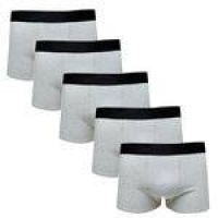 Kit Com 5 Cuecas Boxer Cotton Confort Masculina Part.b Cinza