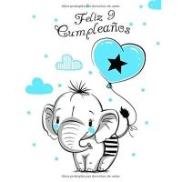 Feliz 9 Cumpleaños: Mejor Que una Tarjeta de Cumpleaños! Lindo Elefante con Globo Azul, Libro de Cumpleaños que se Puede Usar como Cuaderno o Diario.